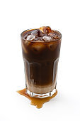 Iced coffee on isolated white background background