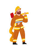 Firefighter. Professional rescuer,  hands-on work profession. Character illustration isolated on white background. Beard man in  uniform with fire engine and axe. Vector illustration in a flat style.