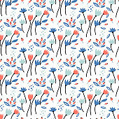 Floral bouquet vector pattern with small flowers and leaves.