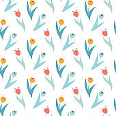 Cute pattern in small wildflowers and tulips. Seamless background and seamless border.