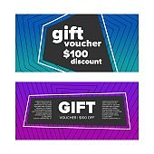 Gift voucher set on a colorful background