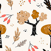 Seamless pattern with abstract trees, forest elements. Creative woodland height detailed background.