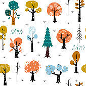 Seamless pattern with colorful autumn forest trees. Great for fabric, textile.