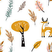 Seamless childish pattern with cute deer in the wood. Forest elements and hand drawn shapes. Childish texture.