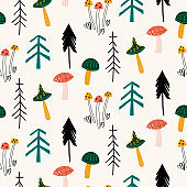 Seamless childish pattern with mushrooms, forest and plants, trees. Woodland childish print in Scandinavian decorative style.