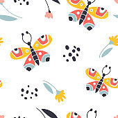 Colorful folk vector seamless pattern with butterflies and flowers. Moths in scandinavian style.