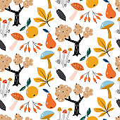 Autumn Forest seamless vector pattern.Autumn harvest. Woodland childish print in Scandinavian decorating style. Hand draw texture.