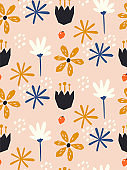 seamless floral pattern in scandinavian style. Great for fabric, textile. Vector background. Nordic nature. Hand draw elements.