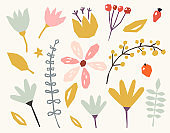 Floral paper cut shapes on white background. Cute and modern wallpaper, web background, fabric and packaging design.
