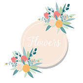 Summer Vintage Floral Greeting Card with Blooming garden flowers. Design banner with spring is here logo.