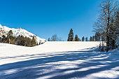 Winter landscape of the Krasnaya Polyana ski resort.
