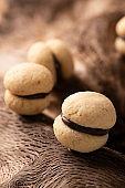 Baci di dama biscuits. Italian biscuits