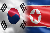 Flag of South Korea and North Korea - indicates partnership, agreement, or trade wall and conflict between these two countries.
