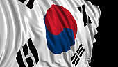 3d rendering of a south Korean flag. The flag develops smoothly in the wind