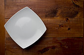 Empty dish on wooden table