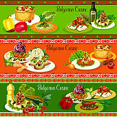 Bulgarian meat and vegetable dishes with cheese