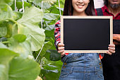 Close-up of beautiful smiling woman holding an empty blank black board inside green natural farm - with copy space to insert text.
