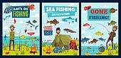 Sea and lake fishing, fisherman camp, fish catch