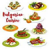 Bulgarian cuisine meat dishes with veggies, cheese