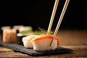 Traditional Japanese sushi on a plate