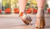 Women Sprain Ankle To Wear High Heels Shoe - Human Foot Sprain