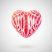 Valentines day greeting card: red balls in the shape of a 3D heart.