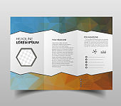 Vector modern tri-fold brochure design template with hi-tech polygonal background