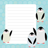 Card design with Kawaii penguin with mint pastel colors polka dot lined page notebook, template, blank, planner background. Vector