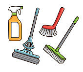 Vector illustration of cleaning tools isolated on white background.