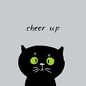 Cheer up Card design funny black cat face on gray background. simple sketch, Can be used for greeting card, frame for your text. Vector