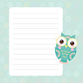 Kawaii bright colorful owls, funny birds, muzzle with pink cheeks and winking eyes. Card design with pink pastel colors polka dot lined page notebook, template, blank, planner background. Vector