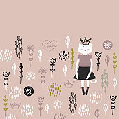 funny Kawaii cat girl in dress, cartoon pet rosy brown coral black pink white flowers leaves background. Can be used for greeting card design, for your text, fashion print for baby clothes. Vector