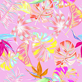 Beautiful pink summer trendy jungle tropical seamless vector illustration. Fashionable abstract tropical nature and floral pattern background with colorful palm leaves