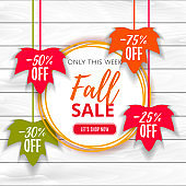 Autumn sale poster of discount promo web banner for fall seasonal shopping  with hanging maple leaf. Big autumn sale offer, banner template.  Shop market poster design. Vector illustration. EPS 10