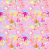 Beautiful pink summer trendy jungle tropical seamless vector illustration. Fashionable abstract hawaii tropical nature and floral pattern background with colorful palm leaves