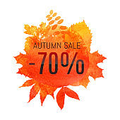 Autumn leaf foliage watercolor. Autumn sale - 70 % off . Fall sale. Web banner or poster for e-commerce, on-line cosmetics shop, fashion & beauty shop, store. Vector illustration. EPS 10