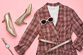 Autumn Fashion Clothes Flat lay, Leaf. Fall Outfit