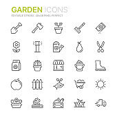Collection of garden related line icons. 48x48 Pixel Perfect. Editable stroke