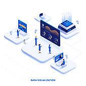 Flat color Modern Isometric Illustration design - Data Visualization