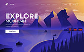 Flat Modern design Illustration of Explore Mountain