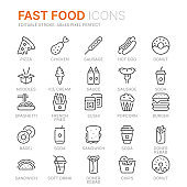 Collection of fast food related line icons. 48x48 Pixel Perfect. Editable stroke