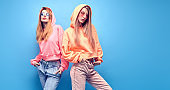 Two hipster Girl Fool Around, Stylish neon Outfit