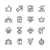 Success and Awards Line Icons. Editable Stroke. Pixel Perfect. For Mobile and Web. Contains such icons as Winning, Teamwork, First Place, Celebration, Direction.