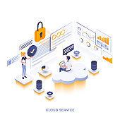 Flat color Modern Isometric Illustration design - Cloud Service