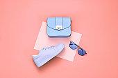 Fashion Minimal Set. Trendy Coral Pastel color