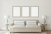 Modern living-room interior in neutral colors. Frame mockup. 3d render.