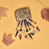 Fashion Cosmetic Makeup Flat lay for autumn Beauty