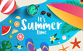 It's summer time vector banner background template