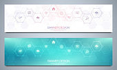 Banners design template for technological decoration with flat icons and symbols. Concept and idea for internet of things, communication, network, innovation technology, system integration.