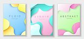 Vertical banners templates with 3D abstract background with paper cut cyan, yellow and pink waves. Trendy carving art style.